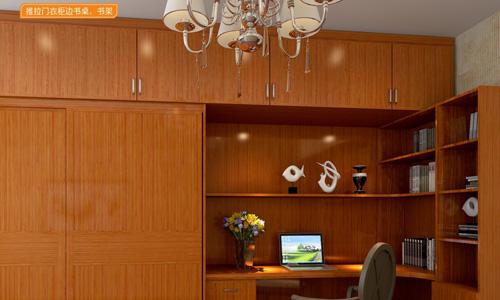 现代风尚系列推拉门衣柜边书桌、书架XGM-07