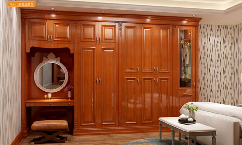 简欧风情系列-衣柜衣帽间橱柜衣橱整体衣柜整体橱柜-平开门衣柜-连妆柜GM-F-01